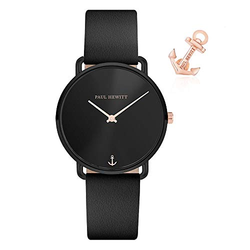 PAUL HEWITT Bundle Armbanduhr Damen Miss Ocean Black Sunray - Damen Uhr (Schwarz), Damenuhr mit Lederarmband in Schwarz, schwarzes Ziffernblatt + Charm