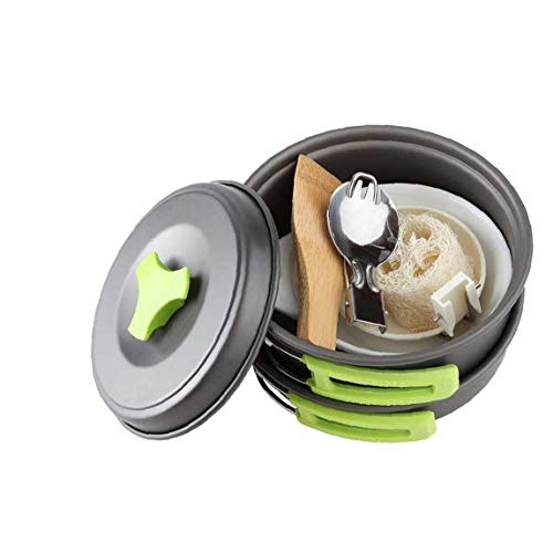Portable Camping Cookware Mess Kit Backpacking Outdoors Cook Set