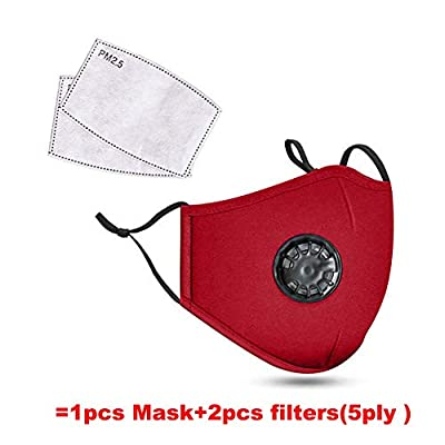 [Fashion] Outdoor Safety Dust Mask with Breathing Valve Respirator Washable Cycling Face Mask,Insert Replaceable PM2.5 Carbon Filter Protection from Dust, Pollen, Pet Dander (Red)