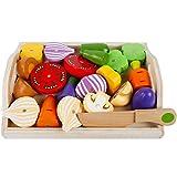 Cocina juguete Madera verduras con imán, 24 x 19 cm, 22 piezas, verduras de madera fruta verduras juguete Alimentos Cocina Niños Cocina