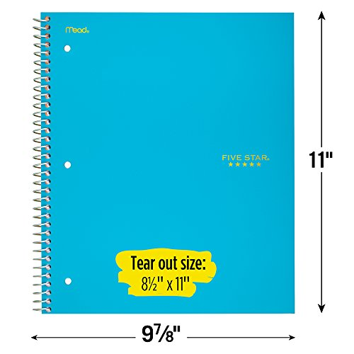 """Five Star Spiral Notebook, 3 Subject, College Ruled Paper, 150 Sheets, 11"""" x 8-1/2"""", Teal (72462) Photo #2"""