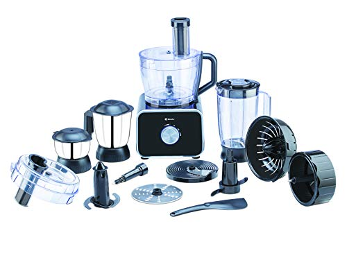 Bajaj FX-1000 DLX 1000W Food Processor and Mixer Grinder with 9 attachments, Black