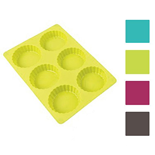 Backform Tarte Quiche Puddingform, Silikon, 6er, farbig sortiert, 1 Stück