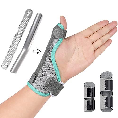 TUMPLIK Thumb Splint Brace + 2 Finger Splints, Reversible Thumb Wrist Brace and Trigger Finger Carpeltunal Stabilizer Guard, Hand Brace Thumb Support Splint for Pain Relief, Arthritis Tendonitis