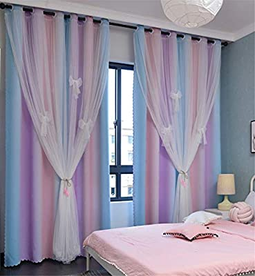 Blackout Stars Curtain 2 Layers Drapes Elegent Room Decor Kids Curtains for Girls Bedroom Window Panels Living Room Divider 63 72 84 96 108 inches Long (Pink Purple Green- No Star, W52 X L63)