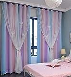 Blackout Stars Curtain 2 Layers Drapes Elegent Room Decor...