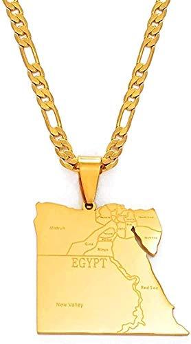 Aluyouqi Co.,ltd Collar Collar País Egipto Mapa Estados Collares Pendientes para Hombres Mujeres Joyería De Color Dorado Mapas Egipcios