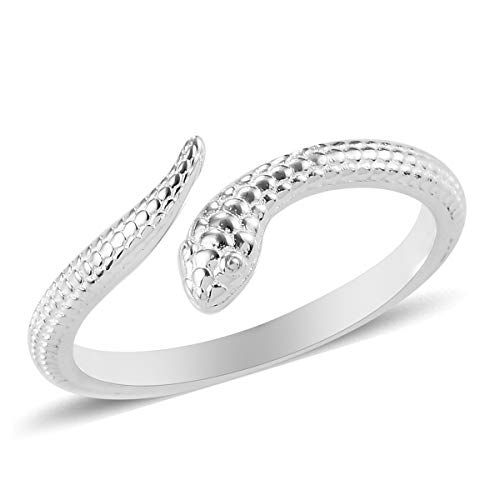 TJC Silver Snake Ring for Women Shinny 925 Sterling Stamped Jewellery for Animal Lover Size J