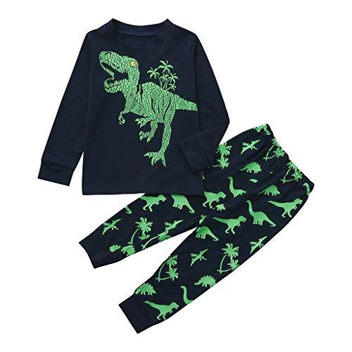 Tute Bambino con Dinosauri, 1-7 Anni Completo Bambini Ragazze E Ragazzi 2 Pezzi Tute Maglietta Manica Lungo Stampe Dinosauri + Pantaloni Casa Set Cotone Primaverili Estate (6-7Anni, Blu)