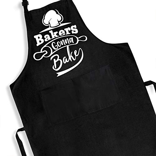 Funny Baking Apron for Men Women Teens Girls - Cute Baker Gifts for Mom Dad - Baking Gift Ideas - Housewife Black Bib Apron with Pockets - Adjustable Bib Aprons Waterproof Oil Resistant
