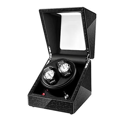 GNSDA Automatische box met dubbele horlogebeweging van hoogwaardig microvezelleer met 5-voudige draaimodus en verstelbaar horlogekussen voor de pols van mannen en vrouwen, zwart