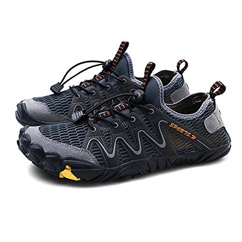 MIAOML Zapatillas De Deportes Hombre Running Zapatos para Correr Gimnasio Calzado Deportivos Ligero Sneakers Transpirables Casual Montaña Calzado,Gray-42