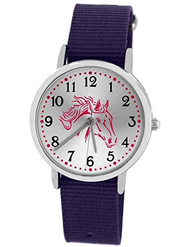Pacific Time 86527 Montre pour enfant à quartz analogique avec bracelet en textile