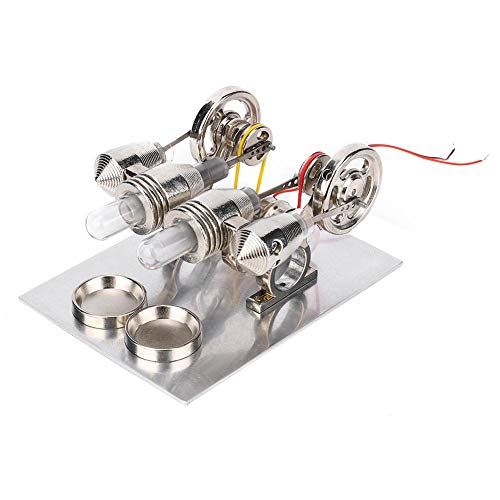 DAUERHAFT Kit de Motor de Motor Stirling de Acero Inoxidable con luz cálida Modelo de enseñanza de Laboratorio de física 4 Cilindros