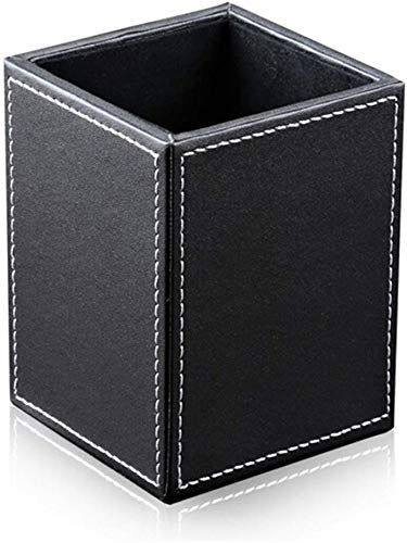 Bargain Crusader Black PU Leather Square Pens Pot Pencils Holder Cup Desktop Stationery Organizer Case Holder Office Accessories Container Box Desk Caddy (L:3.35 x W:3.35 x H:4.72 inches, Black)