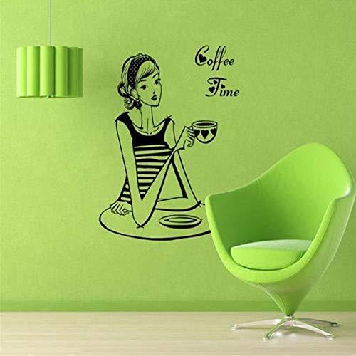 Decal Melk Thee Koffie Shop Meisje Cafes Ijs Brood Taart Keuken Muur Kunst Verwijderbare Sticker Sticker Doe-het-zelf Home Decoratie Mural Decor