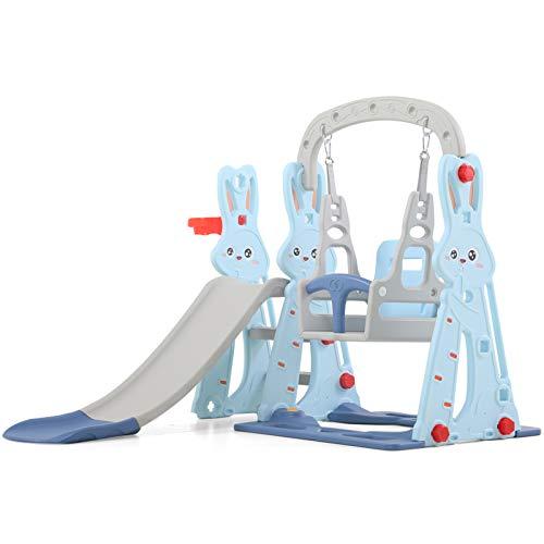 WHL Bunny Slide Interior Hogar Multifunción Slide Swing Combinación Pequeño Parque De Atracciones Juguete para Bebés(Color:Azul)