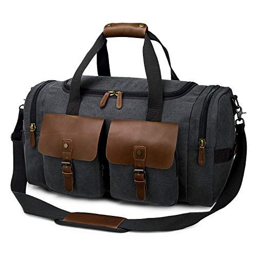 TAK Vintage Reisetasche Weekender Duffle Bag Wochenend Tasche Handgepäck Weekend Tasche Umhängetasche aus Canvas Leder mit Schuhfach, für Herren Damen lässigen Reisen Gym Urlaub, 40 L,Schwarz