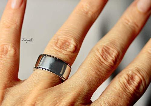 Silber Ring Band, geometrischer Silberring 925 / Geschenk für Sie/größenverstellbarer Ring/moderner Schmuck/Stapelring/Bandring