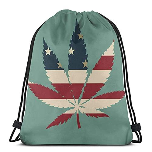 Bolsa de cordón con cordón de la hoja de la hierba de la mochila ligera de deportes del gimnasio del tamaño grande impermeable bolsa de cuerda para yoga, compras, viajes, hombres y mujeres