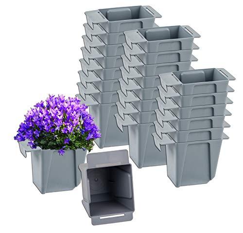 BigDean 24x Pflanzkasten Palette Grau Mini Kunststoff Paletten Blumenkasten Pflanzkübel Palettenkasten Palettenpflanzkasten