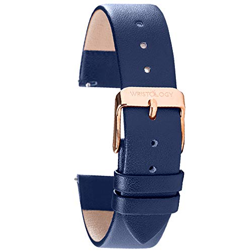 Wristology Navy Blue Leather 20mm Watch Band - Quick Release Easy Change Mens   Womens Strap