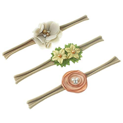 Venda de nylon del bebé / venda floral del pelo - diseño elástico suave del diseño de 3 (caqui)