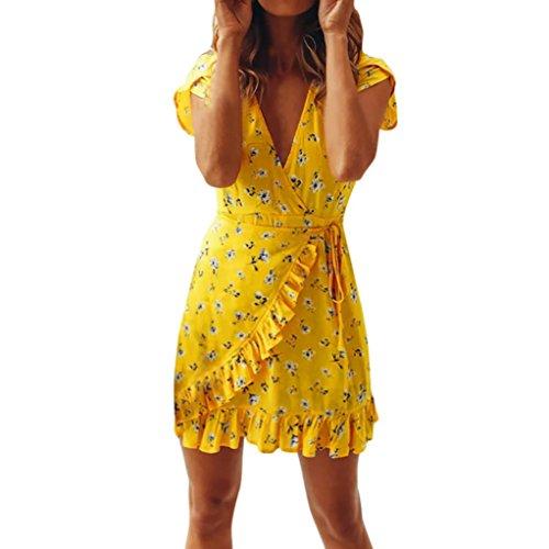 ESAILQ Damen Strandkleid Ärmellos Rückenfrei Lose Neckholder Chiffon Kleid Luftiges Sommerkleid Minikleid(L,Gelb)