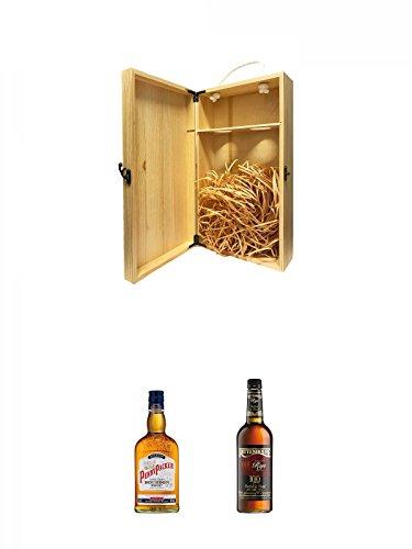 1a Whisky Holzbox für 2 Flaschen mit Hakenverschluss + Pennypacker Straight Bourbon Whiskey 0,7 Liter + Rittenhouse Rye 100 Proof 0,7 Liter