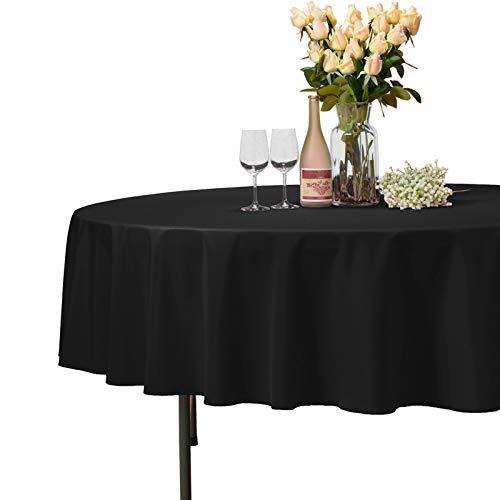 VEEYOO Runde Tischdecke aus 100% Polyester Kreisförmig Brautdusche Tischdecke Weich Abendessen Tischtuch für Die Hochzeit Party Restaurant (Schwarz, 178 cm)