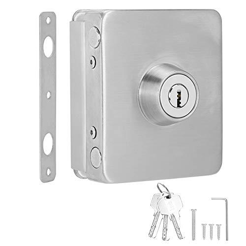 Single Glass Door Lock Latch, Frameless Door Lock, With Heating Treatment Glass Door Lock, Other Places Frameless Glass Door for Office Security Lock Homes