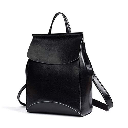 1yess Damenlederrucksack, Retro- Art und Weise wasserdichte Anti-Diebstahl-Umhängetasche Urlaubsreisen Rucksack Collegetasche, Schwarz (Color : Black)