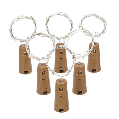 6 Paquetes de Luces de Botella Luces en Forma de Corcho con 20 LEDs Micro para Fiesta Cumpleaños Boda Decoración de Mesa de Hogar, Blanca Cálida, 3.3 Pies
