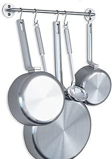 WALLNITURE Gourmet Kitchen Pot Pan Lid Rack with Hooks Steel Silver 16 Inch