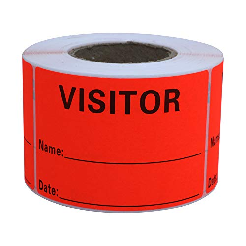 Hybsk Visitor Pass Fluorescent Red Visitor Identification Labels Stickers 300 Labels Per Roll (Fluorescent Red)