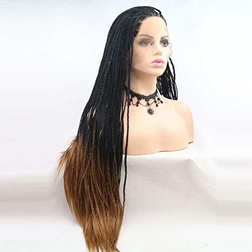 Xiweiya Perruques de cheveux longs tressés pour femme noire - Perruque synthétique avec dentelle frontale - Perruque de cosplay africaine - Perruque marron ombré