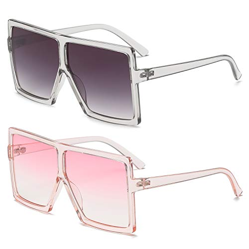 GRFISIA Square Oversized Sunglasses for Women Men Flat Top Fashion Shades (2PCS-clear gray-clear pink, 2.56)