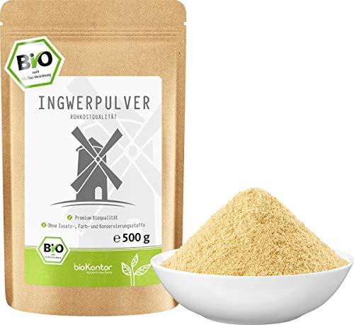Ingwerpulver BIO gemahlen 500g I 100% natürlich und rein - ohne Zusatzstoffe I Ingwer gemahlen in Rohkostqualität von bioKontor