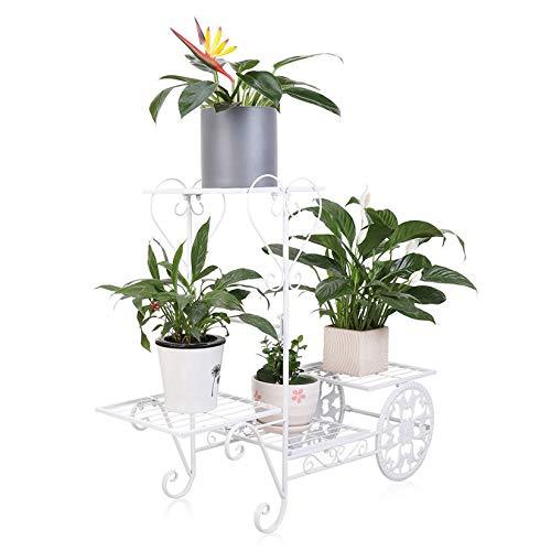 Blumentopfständer aus Metall, mit 4 Ablagen für Veranda, Garten, Terrasse, hält bis zu 77 kg, Weiß