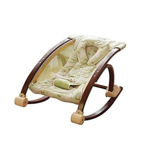 YANGXY Baby schommelstoel, comfortabele schommelstoel, massief houten peuter schommelstoel, 3 kleuren Geel Groen