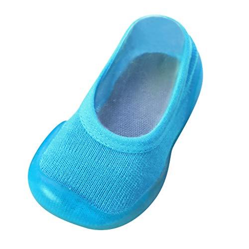 YWLINK Zapatos De NiñO ReciéN Nacido Calcetines De Color Liso Zapatillas con Suela De Goma Calzado De Casa Antideslizante CóModo Y Suave Zapatos De Primer Paso para NiñOs De Ocio(Azul Claro,22/23EU)