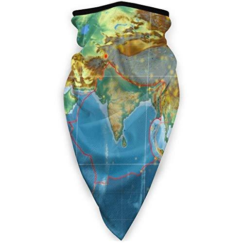 Lfff Placa tectónica India contorneada en el Mapa de Relieve topográfico Global Polaina de Cuello Cubierta Facial Pasamontañas Sports Headwear Bufanda