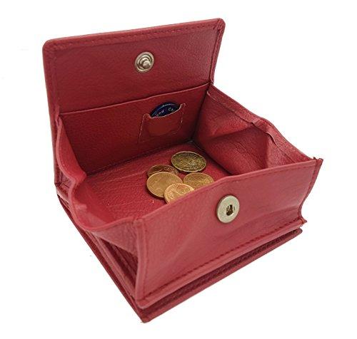 echt Leder Geldbörse Wiener Schachtel mit RFID Schutz Jockey Club Soft-Rindleder rot