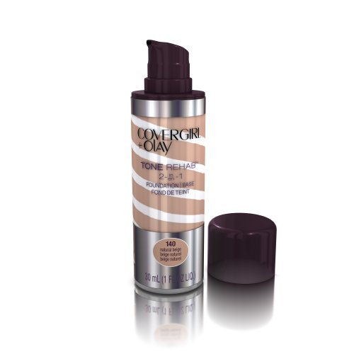 COVERGIRL and Olay Tonerehab 2-In-1 Foundation, Natural Beige 140, 1 Fluid Ounce