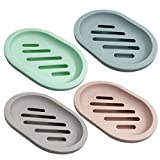 SENHAI 4 jaboneras para caja de jabón de ducha, soporte de jabón con drenaje para el mostrador de baño, ducha, cocina, mantener el jabón seco y limpio, 4 colores