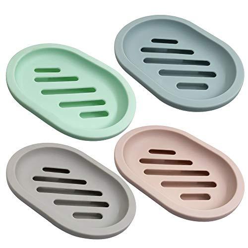 Senhai 4 Stück Seifenschale zum Duschseifendose, Soap Saver Case Halter mit Abfluss für Badezimmerzähler, Dusche, Küche, Seife trocken halten und sauber, 4 Farben (Wuchs, Blau, Pink, Grün)