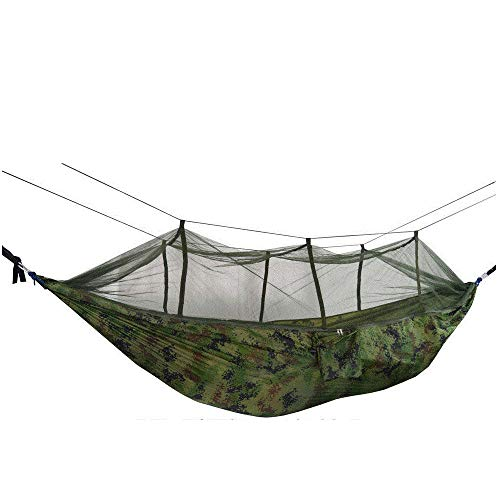 LightweightSingleOutdoor Tent with Storage Bag + Strap,300kg Load Capacity (260x140cm) Camouflage Camping Tarp for Camping Hiking Backpacking