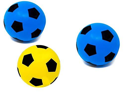 E-Deals - Balón de fútbol de Espuma Suave de 20 cm, 2 de Espuma Azul y 1 Amarillo para Interior y Exterior, con Esponja Suave, Ideal para niños, niñas, Adolescentes y Adultos