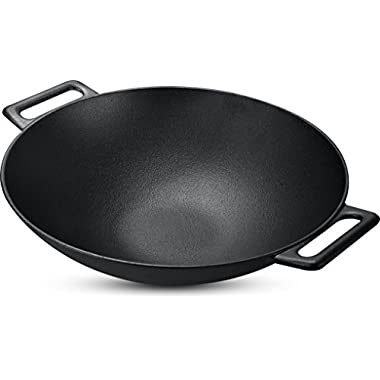 Cast Iron Shallow Concave Wok, Black, 12 Inch, Wide handles - by Utopia Kitchen