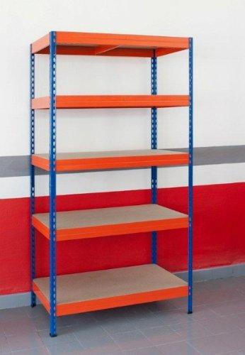 Estanteria metalica ar storage 192x100x50cm 5 estantes 300kg por estante bandejas de maderasin tornillos azul naranja